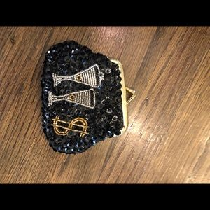 Handbags - Champagne and $ beaded Coin purse